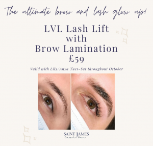 advertising our new £59 deal to have a lash lift and brow lamination